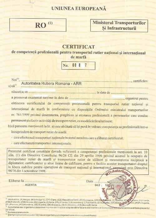 Licențele de transport - Certificat manager