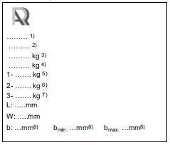 Plăcuță mase maxime autorizate și dimensiuni remorcă sau semiremorcă